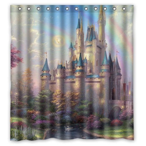 Welcome!Waterproof Decorative Beautiful Castle Shower Curtain 66