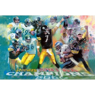 Professionally Framed Pittsburgh Steelers Super Bowl Champions Sports Poster - 13x19 with RichAndFramous Black Wood Frame