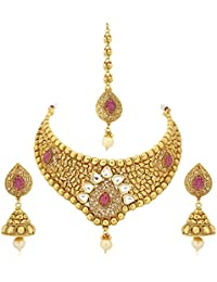 VK Jewels Pink Stones Gold Plated Brass Necklace For Women & Girls - NKS1232G [VKNKS1232G]