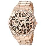 Reloj XOXO XO5638 para mujer en tono oro rosa con Dial con diseño de leopardo.
