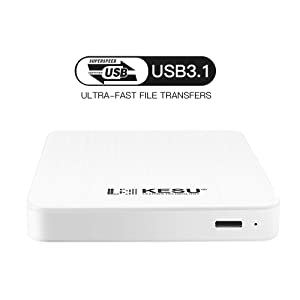 KESU 160GB Portable External Hard Drive Type C USB3.0 HDD Storage Compatible for PC, Mac, Desktop, Laptop, MacBook, Chromebook (White) (Color: White, Tamaño: 160GB)