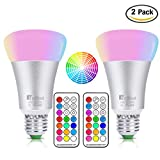 NetBoat 10W E26/E27 RGBW LED Bulbs Dimmable,RGB+Daylight White Color Changing Light Bulb with IR Remote Control,Memory Function,Ideal Lighting for Home Decoration,Stage,Bar,Party ,2-Pack