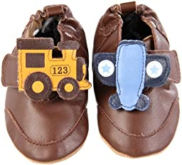 Robeez Soft Soles Planes and Trains Slip On (Infant/Toddler),Brown,0-6 Months (1-2 M US Infant)