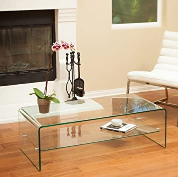 Christopher Knight Home Ramona Aluminum Glass Coffee Table with Shelf and Metal Locks Easy to Assemble