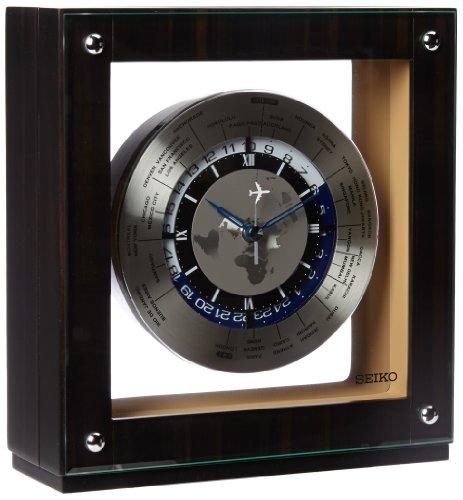 Seiko Mantel Automatic World Timer Clock Genuine Dark Ebony Veneer Wooden Case