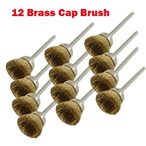 "12 Rotary Brass Wire Cap Brush L Dremel 3000 4000 8220-2/28 395 7700-1/15 4000 3/34 Chicago Electric, Milwaukeen Nextec1/8"" Shank Hobbyy Clean Polish , Craftsma"