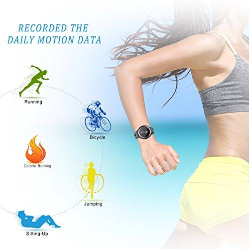 Plustore Waterproof Bluetooth Bracelet Pedometer Calorie Bicycle Sleep Monitoring Smartwatch - Black