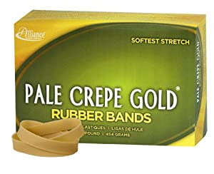 Alliance Pale Crepe Gold Size #84 (3 1/2 x 1/2 Inches) Premium Rubber Band, 1 Pound Box (Approximately 240 Bands per Pound) (20845)