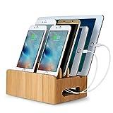 EReach 竹製卓上ホルダー 多功能充電スタンドiPhone Android iPod iPad Mac などを収納充電ホルダー