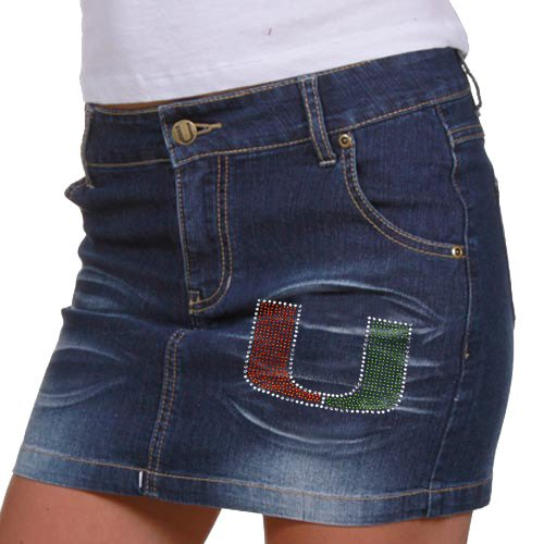 Miami Hurricanes Ladies Denim Blue Signature Logo Jean Skirt