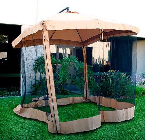 Patio Umbrella Netting: Offset Tan Patio Umbrella Instant Gazebo With Mesh Netting