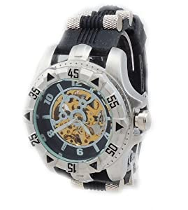 Techno Sport Men's Diver Look Stainless Steel Barrel Inserts Rubber Automatic Watch