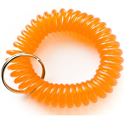 100pcs Orange Color Soft High Quality Spring Spiral Coil Elastic Wrist Band Key Ring Chain (Coil Keychain Orange compare prices)