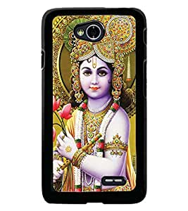 Fuson Premium Stunning Krishna Metal Printed with Hard Plastic Back Case Cover for LG L70 Dual