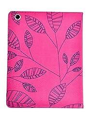 KolorFish iLeaf Pattern Designer Funky Leather Flip Stand Case Cover Apple iPad 2, iPad 3, iPad 4 Hot Pink