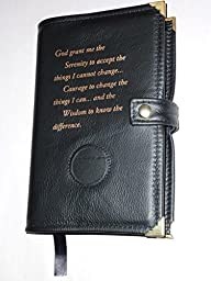 Black Leather AA Alcoholics Anonymous Big Book Cover Serenity Prayer and Medallion Holder