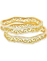 JFL - Dazzling Diamond Designer One Gram Gold Plated Bangles For Women.