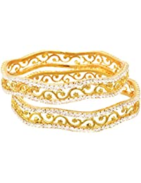 JFL - Dazzling Diamond Designer One Gram Gold Plated Bangles For Women.