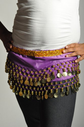 Kids Belly Dance Zumba Hip Scarf with Coins & Beads - Purple