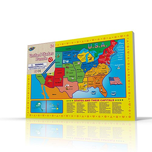 USA Map Puzzle for Toddlers, 17 Pc Large Size US States with Cute Pictures on it, Ideal for Boys/Girls with 3+ Years of Age, Smart Learning and Development Jigsaw Puzzle Toy/Game, Great Gift Idea. (Yugioh Number 51 compare prices)