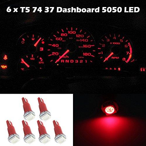 Partsam 6X Red T5 Wedge 5050 Smd Speedometer Gauge Cluster Led Light Bulb 57 37 73 257 For 1998 1999 Honda Ev Plus