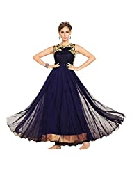 Navy Blue Net Designer Party Wear Anarkali Suit Semi Stitched