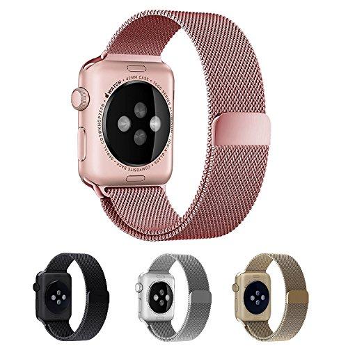 Apple Watch Bracelet, EH HE 38mm Bracelet en Acier Inoxydable avec Fermoir Magnétique Unique pour Apple Suivre Tous les Modèles Pas Besoin Buckle