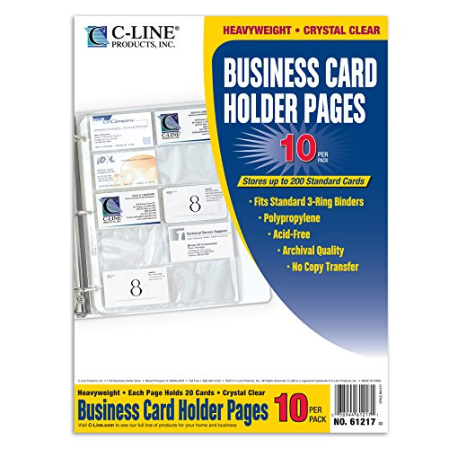 C line business card holder pages poly without tabs 20 for Business card holder sheets