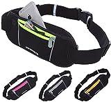 GW SPORTS ランニング ジョギング サイクリング ウォーキング ポーチ ベルト 全4色 (iPhone6 Plus以下のサイズに対応) (ブラック×イエロー)
