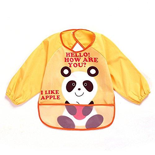 Sohv Unisex bambini Childs Arti Mestieri pittura Grembiule impermeabile del bambino Bavaglino con maniche e tasca, 6-36 mesi: panda, raccoglie de1