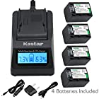 Kastar Ultra Fast Charger(3X faster) Kit and Battery (4-Pack) for Sony NP-FV70,CB-TRV,TRV-U and Sony DCR-SR15,SR21,SR68,SR88,SX21,SX45,SX63,SX65,SX85,FDR-AX100,HDR-CX105,CX130,CX155,CX160,CX190,CX200,CX260V,CX290,CX300,CX305,CX330,CX350V,CX360V,CX380,CX430V,CX550V,CX560V,CX580V,CX700V,CX760V,CX900,HC9,PJ10,PJ50,PJ200,PJ340,PJ380,PJ430V,PJ540,PJ580V,PJ650V,PJ710V,PJ760V,PJ790V,PJ810,TD10,TD20V,TD30V,XR155,XR160,XR260V,XR350V,XR550V,HXR-NX3D1U,NX30U,NX70U,NEX-VG10,VG30,VG30H,VG900,DEV-5,DEV-50