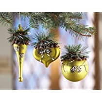 Rustic Christmas Holiday Green Glass Ornament Set By Collections Etc