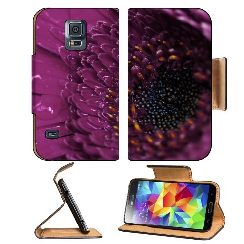 Macro Shot Purple Flower Center Samsung Galaxy S5 Sm-G900 Flip Cover Case With Card Holder Customized Made To Order Support Ready Premium Deluxe Pu Leather 5 13/16 Inch (148Mm) X 2 1/8 Inch (80Mm) X 5/8 Inch (16Mm) Msd S V S 5 Professional Cases Accessori