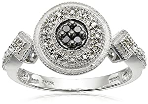 Sterling Silver Black and White Diamond Round Ring (1/10 cttw) Size 6