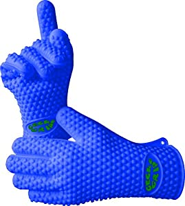 The Best Silicone Heat Resistant Grilling BBQ Glove Set - Perfect for Use in the Kitchen Handling All High Temperature Foods - Use As Potholder and Protective Oven, Grill, Baking, Smoking and Cooking Gloves - Use 10 Fingers Making it Easier to Handle Hot