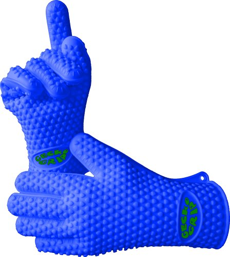 VRP Heat Resistant Silicone BBQ Gloves - Best Protective Insulated Oven, Grill, Baking, Smoker or Cooking Gloves - Blue/Small -Replace Your Potholder and Mitts - Five Fingered Waterproof Grip - 9 COLORS! (Gecko Door Handles compare prices)