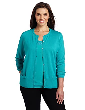 AK Anne Klein Women's Plus Size Long Sleeve Crew Neck Cardigan with Bow Detail, Deep Sea, 0X