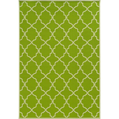 Oriental Weavers Lime Green Indoor Outdoor Rug Patterned