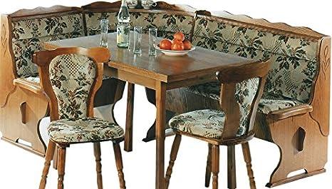 Eckbank - Kuchenbank - Eckbankgruppe - Eiche rustikal P43 - 2 Stuhle - Kuchenstuhle - ausziehbarer Tisch - mehrere Varianten - Einzelelemente bestellbar (2535)