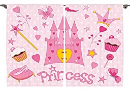 Ambesonne Girls Nursery Kids Room Decor Collection, Sweet Princess Shoes Icons Fairy Castle Butterfly Heart Lollipop Image, Window Treatments for Kids Bedroom Curtain 2 Panels Set, 108X84 Inches