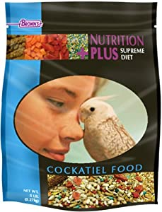 F.M. Brown's Nutrition Plus Supreme Cockatiel, Safflower Rich - Sunflower Free, 3-Pound