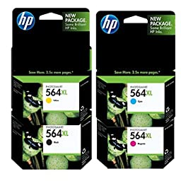 HP 564XL Color Four Pack - Includes Double Capacity -Black (CN684WN)/ Cyan(CB323WN)/ Magneta(CB324WN)/ Yellow(CB325WN)