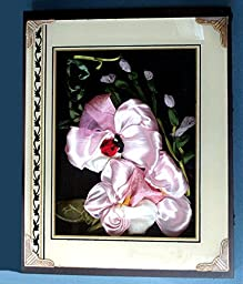 Art Nouveau Hybiscus with Ladybug done in Ribbon and Stump Embroidery put in Antique Frame Shadowbox 8\' x 11\