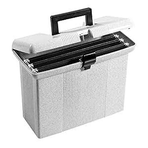 "Oxford Portfile Portable File Box, Granite, 11"" H x 14"" W x 6-1/2"" D (41737)"