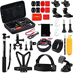 Luxebell 30-in-1 Outdoor Sports Accessories Kit for Gopro Hero 4, Session, Black, Silver, Hero+ LCD, 3+, 3, 2, 1 Camera - Chest Mount Harness / Head Strap / Floating Grip / Monopod Pole / Gopro Case
