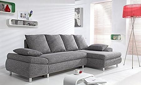 MILO Canapé d'angle droit convertible 4 places gris tissu