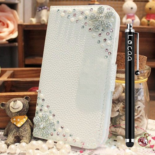 Locaa(TM) For LG Google Nexus 5X 3D Bling Case + Stylus + Phone plug Luxury Crystal Pearl Diamond Rhinestone Beautiful Leather Wallet Cover -[General Series] flower sister (Nexus 5 Light Blue Wallet Case compare prices)