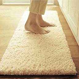 Sytian® Beautiful Camel & Thicken Version Plush Morden Shaggy Area Rug Bedroom Living Room Carpet Non Slip Doormat Floor Mat Absorbent Bath Mat Bathroom Shower Rug (19.69*47.24 Inch)