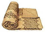 Shop Rajasthan Beige Floral Gold Print Cotton Double Bed Quilt