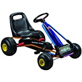 Kids pedal go-kart ride-on car, adjustable seat, rubber wheels